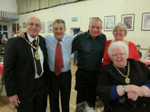 Mayor John Lloyd, Chris Lowry, W J Rowe, Jackie Allen, Mayoress Joan Lloyd